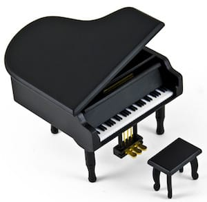 Black Wooden Piano Musical Jewelry Box, Piano Music Boxes