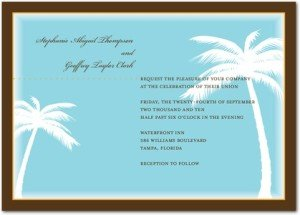 palm trees wedding invitations