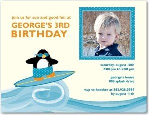 Surfing Penguin Birthday Party Invitation