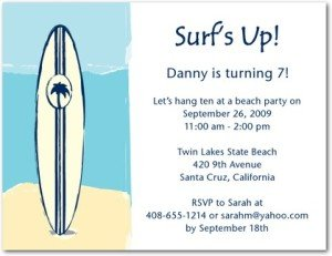 surf's up birthday party invitations