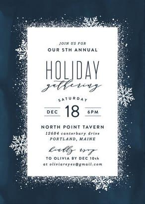 Dark blue snowflake holiday invites