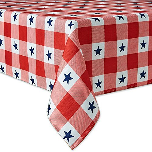Patriotic Red White Check with Blue Stars Fabric Tablecloth