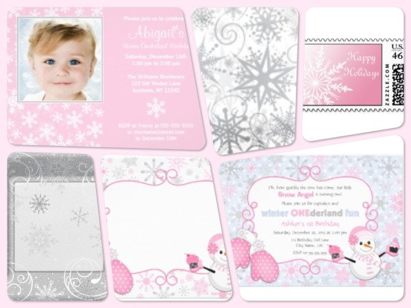 Pink Winter Onederland Birthday Party Invitations