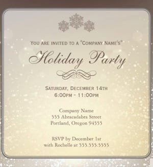 Silver sparkle holiday party invitation
