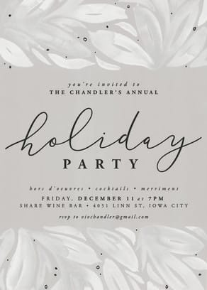 Snow white holiday party invite