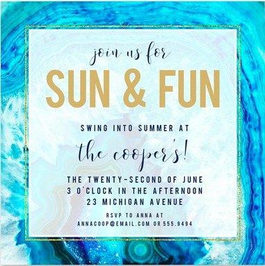 Sun and Fun Invitations
