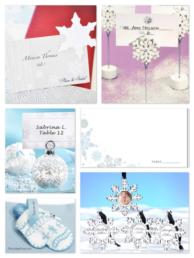 Winter Wonderland Party Snowflake Place Cards & Holders