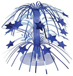 Blue stars winter cascading centerpiece