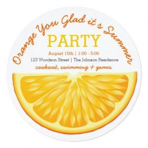 orange you glad its summer party invitation