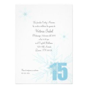 quinceanera winter snowflake invitation