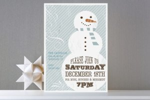 retro snowman party invitations