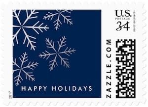 Blue and silver snowflake holiday stamps