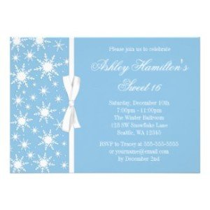 snowflakes sweet16 winter wonderland invitation