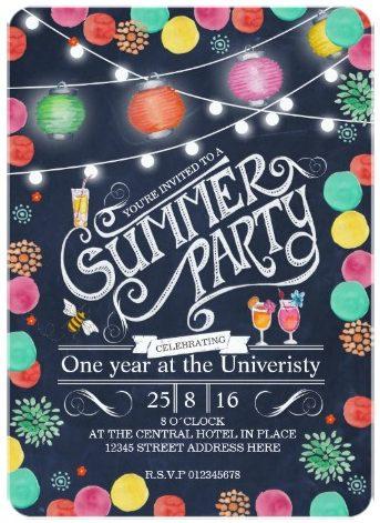 Hanging Lights Summer Party Invitations