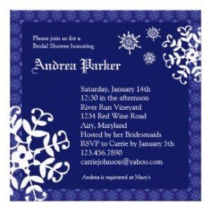 winter wonderland bridal shower invitation