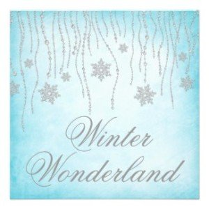 Winter wonderland diamond snowflakes prom invitation