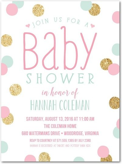 Definitely Dotted Princess Baby Shower Invitations