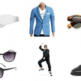 Psy's Gangnam Style Halloween Costume, suit, sunglasses, bow tie, shoes