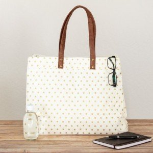 Gold Polka Dots Canvas Tote