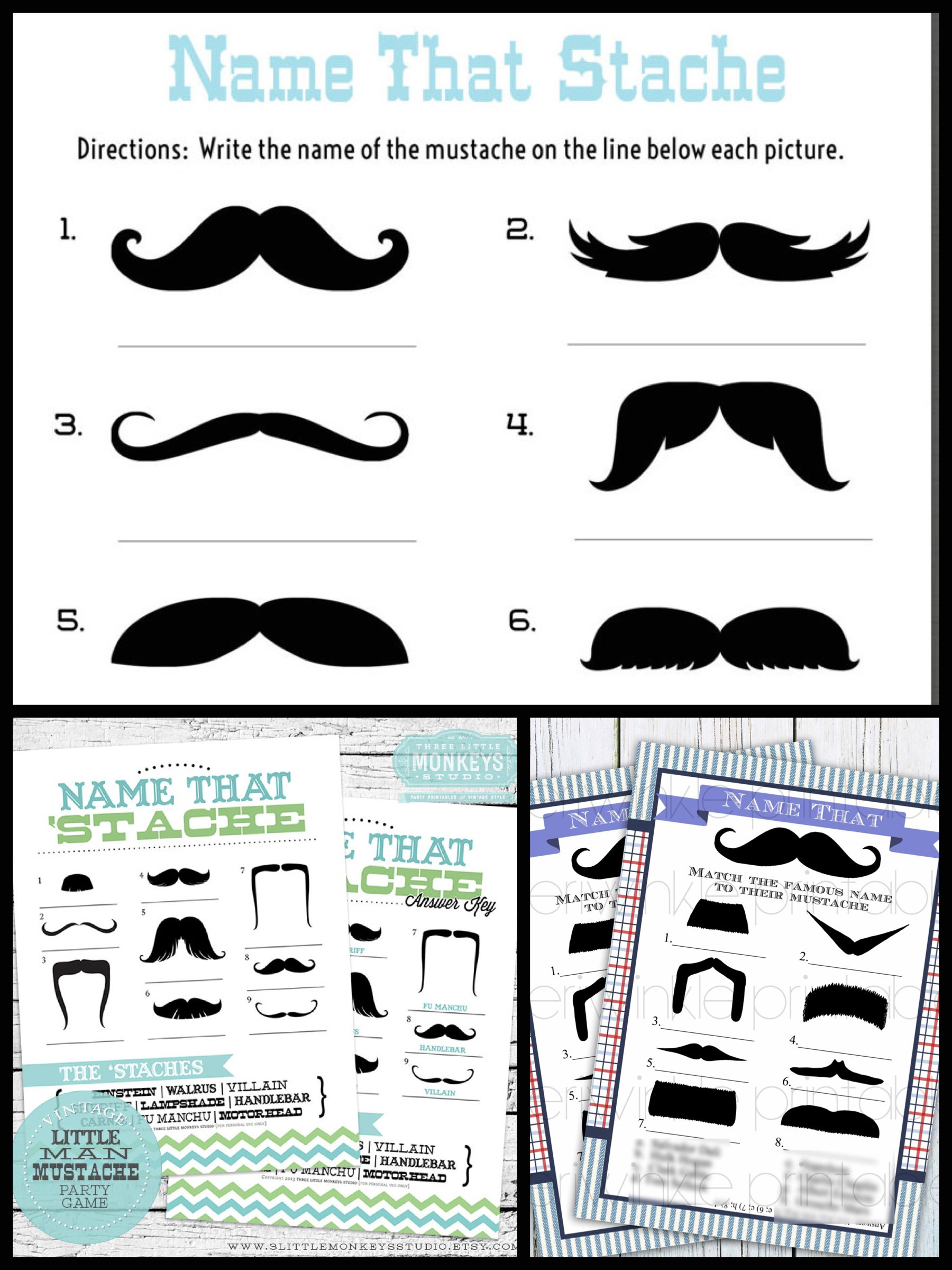 Name That Mustache Printable Games, Printable Mustache Bash Game