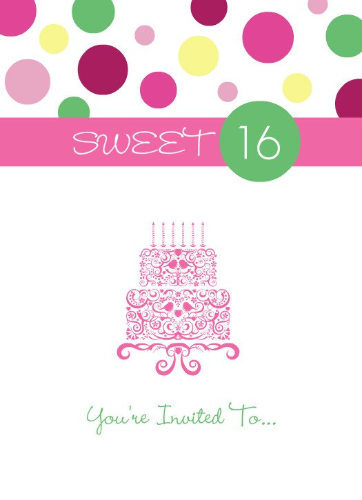 PINK POLKA DOT SWEET 16 BIRTHDAY INVITATION