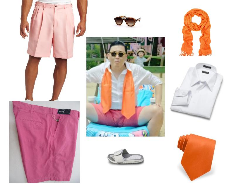 PSY Orange Tie  Pink  Shorts Gangnam  Style  Halloween Costumes