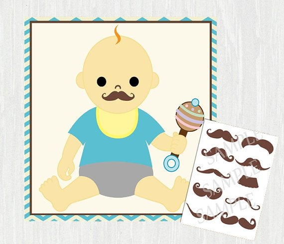 Printable Pin the Mustache on the Baby Shower Games, Printable Mustache Bash Game