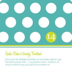 TURQUOISE AND GREEN POLKA DOT BIRTHDAY INVITATION