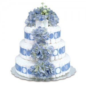 Three-Tier Diaper Cakes With Polka Dot Ribbon