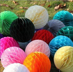 Tissue Paper Honeycomb Hanging Balls
