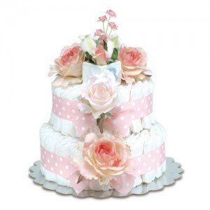 Two-Tier Diaper Cakes With Polka Dot Ribbon