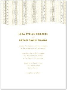 Dotted ReverieTH Gold Thermography Wedding Invitations