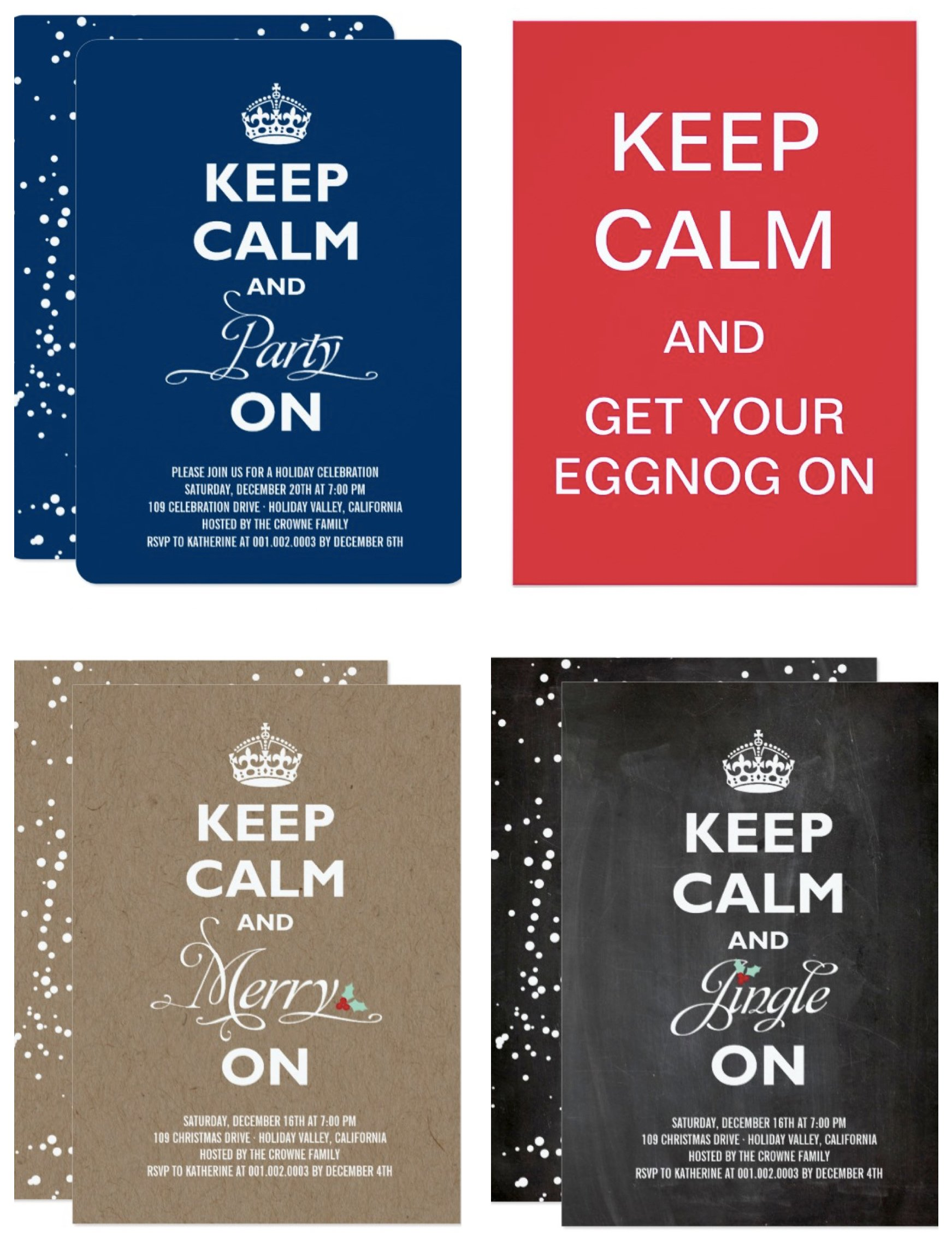 Keep Calm Holiday Party Invitations