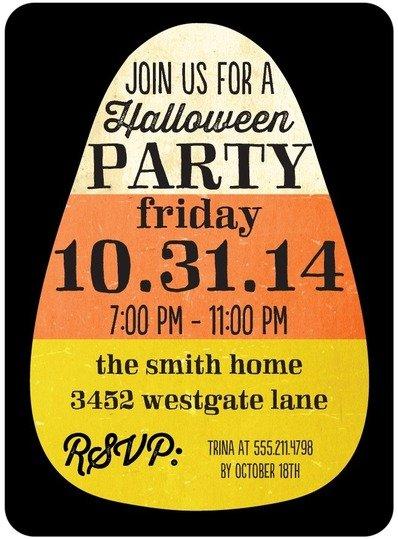 Kinda Candy Corny Halloween Party Invitations
