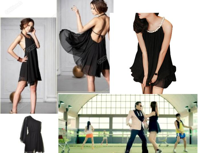 Psy Gangnam Style Black Chiffon Dancing Dress