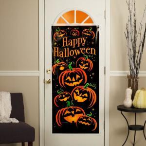 Spooky Pumpkin Grin Door Poster