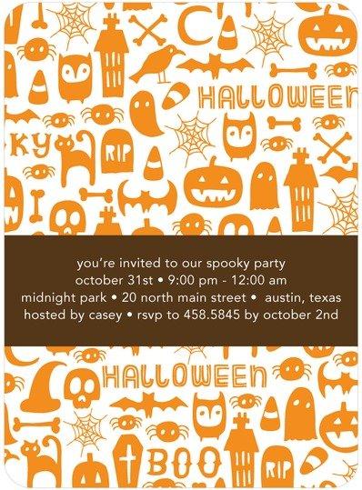 Spooky Symbols Halloween Party Invitations
