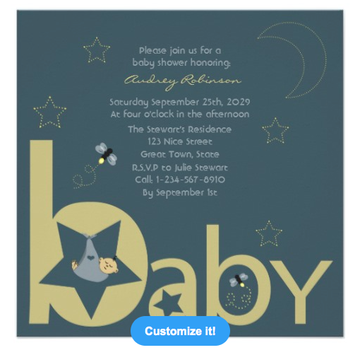 Twinkle Twinkle Litlle Star Baby Shower Invitation