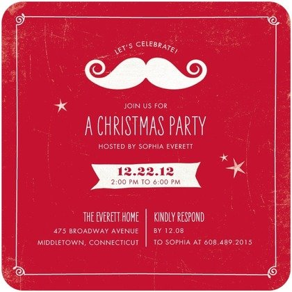 Mirthul Mustache Holiday Party Invitation