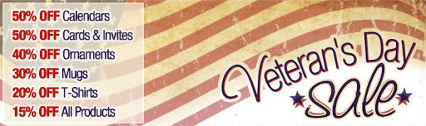 Zazzle Veterans Day Sale 2012