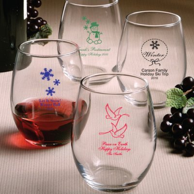 Stemless Holiday Wine Glasses