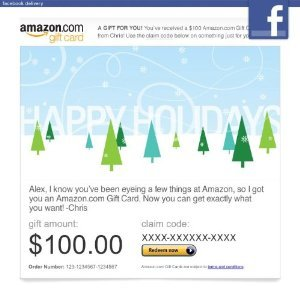 Amazon Gift Card Sent through Facebook