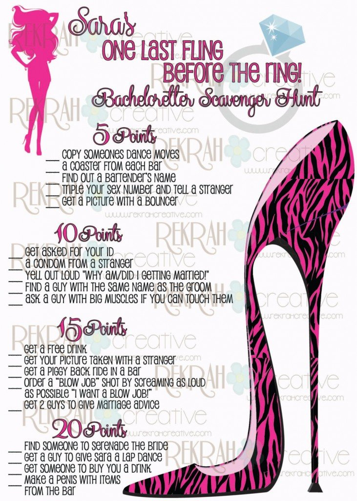 Printable Bachelorette Scavenger Hunt in Hot Pink Zebra High Heel Shoe, Shoe Party Fun & Games
