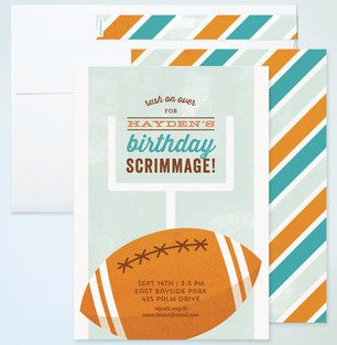 Birthday Football Scrimmage Childrens Birthday Party Invitations