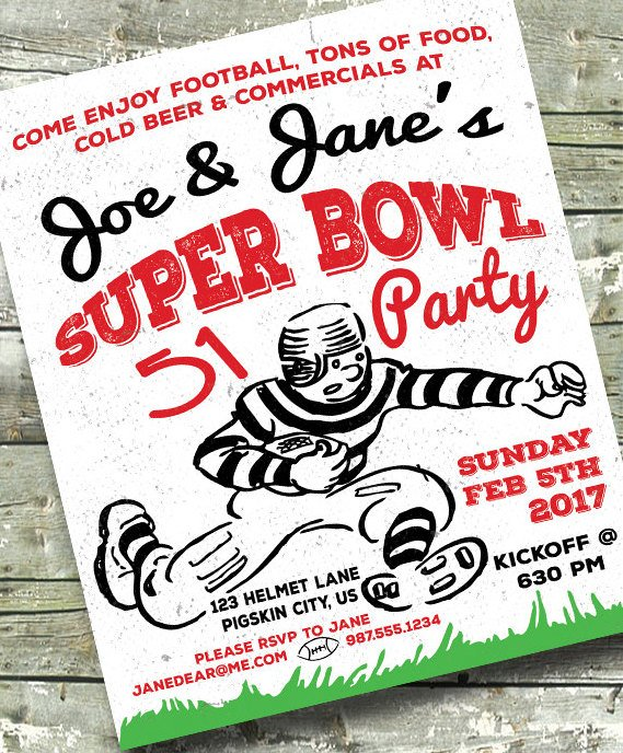 Digital Super Bowl Football Party Invitation