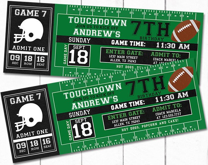 Football Party Invitations >> Printable Football Game Ticket Party Invitations