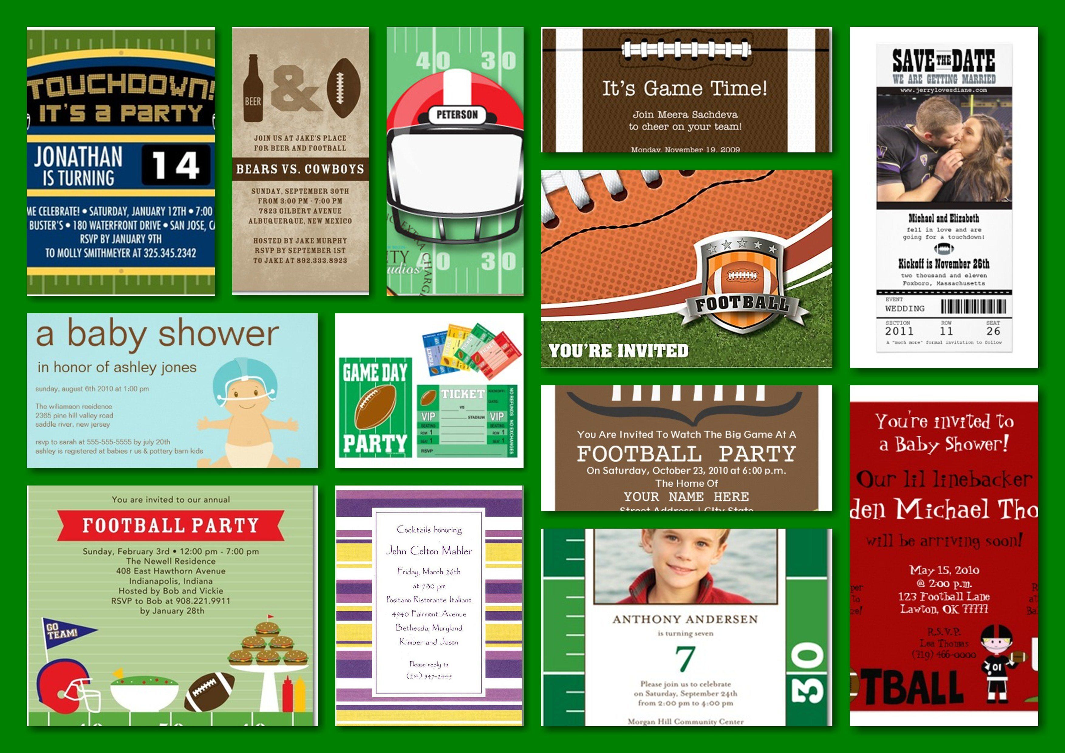 Football Theme Party Invitations