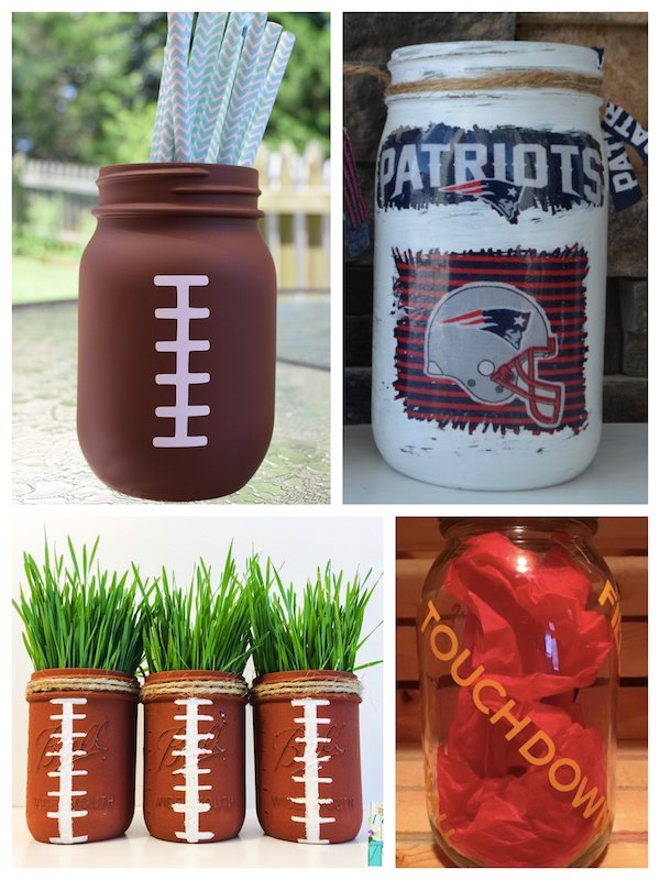 Football Themed Mason Jars