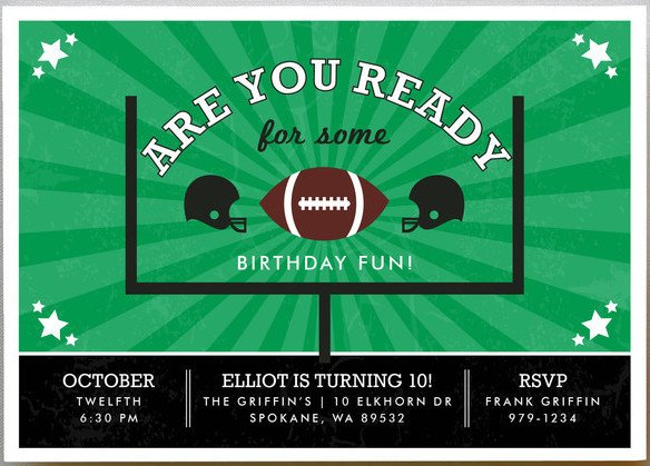 Go Team Children's Football Birthday Party Invitations