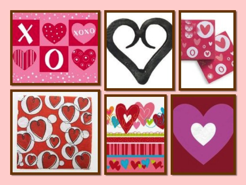 Heart Napkins Collage, heart themed party decor